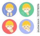 cold symptoms of boy   vector... | Shutterstock .eps vector #505378096