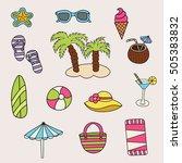 beach and travel design set.... | Shutterstock .eps vector #505383832