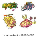 set of doodle cartoon speech... | Shutterstock .eps vector #505384036