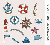 sea and nautical design set.... | Shutterstock .eps vector #505384276