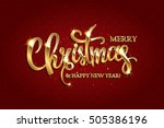 golden text on dark red... | Shutterstock .eps vector #505386196