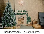 fireplace with christmas tree...   Shutterstock . vector #505401496