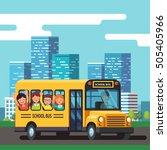 city school bus driver riding... | Shutterstock .eps vector #505405966