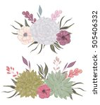 collection decorative floral... | Shutterstock .eps vector #505406332