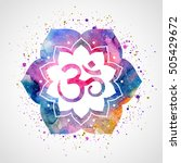 om sign in lotus flower. vector ... | Shutterstock .eps vector #505429672