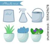 vector set of indoor plants... | Shutterstock .eps vector #505429678