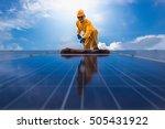 man cleaning  solar power... | Shutterstock . vector #505431922