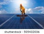 man cleaning  solar power... | Shutterstock . vector #505432036