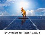 man cleaning  solar power... | Shutterstock . vector #505432075