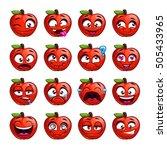 Funny Cartoon Apple Character...