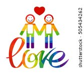 gay couple and rainbow hand... | Shutterstock .eps vector #505434262