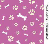 pink bone and paw texture ... | Shutterstock .eps vector #505441942