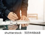 architect working on blueprint. ... | Shutterstock . vector #505448668
