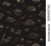 doodle seamless black pattern... | Shutterstock .eps vector #505455742