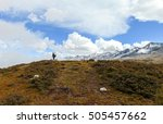 man hiking in high altitude on...   Shutterstock . vector #505457662