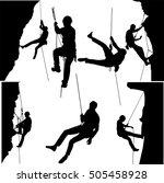 rock climbers silhouette... | Shutterstock .eps vector #505458928