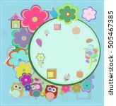 background with owl and flowers.... | Shutterstock . vector #505467385