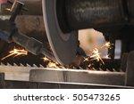 saw mill cuts a metal piece... | Shutterstock . vector #505473265