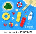marine top view vector set of... | Shutterstock .eps vector #505474672