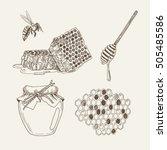 retro illustrations of honey... | Shutterstock .eps vector #505485586
