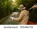 traveler  man with hat  looking ... | Shutterstock . vector #505486732