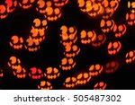 funny scary faces in the dark ... | Shutterstock . vector #505487302
