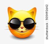 cute smiling cat emoticon... | Shutterstock .eps vector #505492642