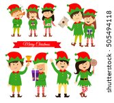 christmas elves  helpers of... | Shutterstock .eps vector #505494118
