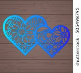 stencil lacy hearts with carved ... | Shutterstock .eps vector #505498792