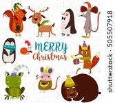 lovely christmas set in cartoon ... | Shutterstock .eps vector #505507918