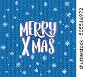 merry x mas   text  knitting... | Shutterstock .eps vector #505516972