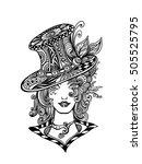 girl in hat in zen doodle or ... | Shutterstock .eps vector #505525795