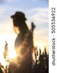 girl wearing a hat in lavender... | Shutterstock . vector #505536922