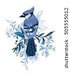 blue jay bird vector... | Shutterstock .eps vector #505555012