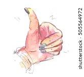 hands show thumbs up. ... | Shutterstock . vector #505564972