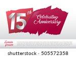 15th anniversary logo with red...   Shutterstock .eps vector #505572358