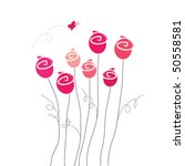 pink roses and butterfly | Shutterstock .eps vector #50558581