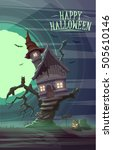 spooky old house of witch on... | Shutterstock .eps vector #505610146