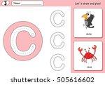 cartoon crow and crab. alphabet ...