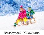 little girl and boy enjoy a... | Shutterstock . vector #505628386