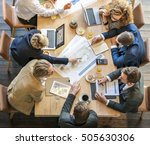 people meeting brainstorming... | Shutterstock . vector #505630306