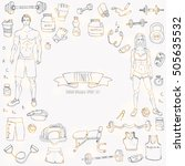 hand drawn doodle fitness icons ... | Shutterstock .eps vector #505635532