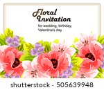 invitation with floral... | Shutterstock .eps vector #505639948