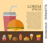 american fast food concept with ... | Shutterstock . vector #505643776