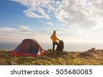 sunrise in camping day. alone... | Shutterstock . vector #505680085