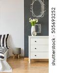 modern bedroom with blackboard... | Shutterstock . vector #505693252