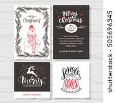 merry christmas invitation set. ... | Shutterstock .eps vector #505696345