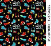 seamless pattern with fashion... | Shutterstock .eps vector #505716382