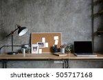 home office interior in loft... | Shutterstock . vector #505717168