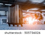 suitcases in airport departure... | Shutterstock . vector #505736026